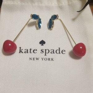 "Kate Spade ""Ma Cherie"" Red Cherry Stem Earrings"